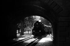 Tunnel Vision (H-bob-omb) Tags: tunnel bridge ignatz bubis historic railway hef frankfurt am main germany 2100 steam class 52 4867 dr backlit backlight monochrome