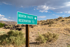 Sign for the Benton Paiute Reservation (m01229) Tags: rock arch alpine nature water paiuteindians beauty lake bentonhotsprings snow summer national tree scenic outdoors america lone natural valley stone reservation sky beautiful landscape desert range hill sunrise mountains usa nevada landscapes whitney sierra outdoor us california blue alabama sign sierranevada travel cloud hiking easternsierra forest park eastern tourism wilderness mountain