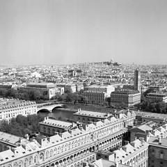 Paris rooftops (csobie) Tags: paris france tourism travel bronicasqa 80mmf28ps yellowfilter v600 scan analog film mediumformat 120 squareformat