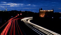 M61, Chorley, Lancashire, UK (BrianDerbyshire) Tags: uk lancashire chorley m61 motorway temple lights cars night longexposure canon canondslr canon760d mormontemple sunset trails mill canalmill sky