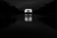 Lincoln Memorial & Reflection Pond (delefleur) Tags: night washington dc capital united states usa monuments longexposure bw blackandwhite minimalist dark blur reflection water
