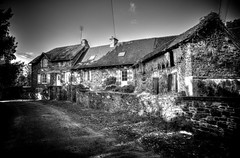 Rural France (Missy Jussy) Tags: home house rural property saintyrieixlaperche labrugere southwestfrance france french lane countryside mono monochrome buildings wall path gate blackwhite bw blackandwhite 24mm ef24mmf28 primelens fixedfocallength 5d canon5dmarkll canon5d canoneos5dmarkii canon