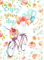 Postcrossing BE-594587 (booboo_babies) Tags: pastel bicycle balloon balloons white birthday flowers postcrossing