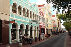 Down Town Willemstad (Prayitno / Thank you for (12 millions +) view) Tags: curacao curaçao willemstad downtown down town city street cobble stone outdoor shop shopping stores colorful multi color caribbean activity tourist interest travel travelblog day time