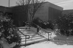 Education Building Snow (jvde) Tags: blackandwhite burnaby coolscan film fujicolor400 gimp nikonfe sfu