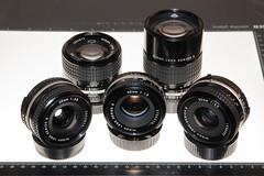 Set of Nikon Series E Prime Lenses. [ Version 2 ] (Jovan Jimenez) Tags: 28mm f28 35mm f25 50mm f18 100mm 135mm gear set nikon series e prime lenses manual vintage retro eseries seriese lens