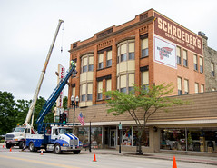 Crane and Lift (Lester Public Library) Tags: tworiverswisconsin tworivers downtowntworivers schroeders schroedersdepartmentstore schroedersstore store departmentstore downtown wisconsin sign signage storesign signinstallation cranes lesterpubliclibrarytworiverswisconsin readdiscoverconnectenrich