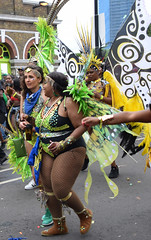 DSC_7968b Notting Hill Caribbean Carnival London Exotic Colourful Green and Black Costume with Feather Headdress Girls Dancing Showgirl Performers Aug 27 2018 Stunning Ladies Big Beautiful Woman BBW (photographer695) Tags: notting hill caribbean carnival london exotic colourful costume girls dancing showgirl performers aug 27 2018 stunning ladies green black with feather headdress big beautiful woman bbw