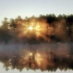 September sunburst sunrise (yooperann) Tags: sunrise crepuscular rays golden reflections water bass lake forsyth township gwinn upper peninsula michigan reflection mist