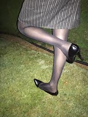 (Justyj12) Tags: outdoor skirt hose pumps sinking grass stiletto heels tv cd