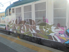 343 (en-ri) Tags: saemo verde marrone rosa bianco train torino graffiti writing locomotiva locomotore locomotrice