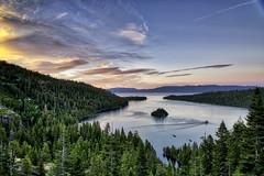 Emerald Bay Sunset (mephistofales) Tags: laketahoe sunset dusk hdr california emeraldbay lake water trees