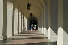 City Hall Corridor (Mondmann) Tags: spanishcolonialrevival mediterraneanrevival cityhall pasadenacityhall pasadena california usa unitedstates america couple walking streetphotography mondmann canonpowershotg7x