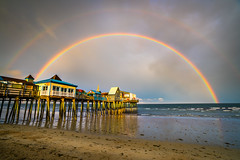 Double Rainbow at Old Orchard Beach (BenjaminMWilliamson) Tags: coast colorful doublerainbow image landscape me maine newengland ocean oldorchardbeach photography pier rain scenery scenic sky storm sunset thepieratoldorchard usa waves