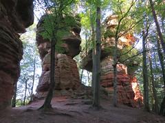 Altschlossfelsen - 2 magnifiques monolithes (ViveLaMontagne67) Tags: allemagne germany deutschland palatinat pfälzerwald roppeviller eppenbrunn brechenberg altschlossfelsen monolithe grès rose erosion nature forest trees pfalz 250v10f 500v20f