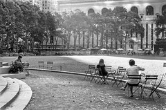 morning light, Bryant Park (V-A-B) Tags: film analog ilfordpanf nikonfm rodinal manhattan newyorkcity nyc bryantpark morning light