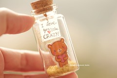 I LOVE YOU like crazy,, Tiny message in a bottle,Miniatures,Personalised gift,Valentine Card,Gift for her/him,Girlfriend gift, birthday card, holiday card and funny card ideas (charles fukuyama) Tags: bear polebear handmadecard custommade unique cute art holidaycard homedecor deskdecor glitter lovecard sweet greetingscard paper seasonalcard partygift personalizedgift longdistancegift kikuikestudio tiny anniversarycard