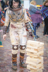 Jenga Warrior (SemiXposed) Tags: girl character melbourne australia outdoors fed square city cbd people warrior dressed up sony
