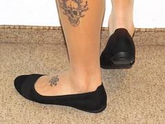 new Graceland ballet flats, white nylons, close up pics (Isabelle.Sandrine2001) Tags: tattoos legs feet shoes pumps leather ballerinas sabrinas ballet falts dangling shoeplay nylons stockings toes gracelandballetflats