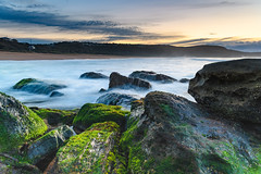 Soft Cascades and Green Moss Sunrise Seascape (Merrillie) Tags: daybreak moss sunrise cloudy australia green nsw centralcoast clouds sea newsouthwales rocks earlymorning morning water landscape ocean nature sky waterscape coastal seascape outdoors killcarebeach dawn coast killcare waves