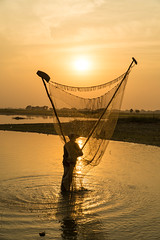The Fisherman at the Golden hour (Kathy~) Tags: fishing man sunset goldenhour myanmar burma fish net behind mandalay friendlychallenges