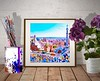 Park Güell (marianv2014) Tags: parkguell barcelona watercolor watercolour aquarelle watercolorpainting gaudi wallart walldecor fineart wallposter parkguelldecor squareformat cityscape colorfulart citypanorama aerialview moderndecor artgifts affordableart blue pink brown carmelhill architectonicelements park citysymbols illustration artwork art outdoors colorful beautiful tourism scenery city view europe european contemporary decor landmark charming