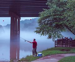 Casting Capture (4 Pete Seek) Tags: unlimitedphotos chattahoochee chattahoocheeriver donwhitepark roswellgeorgia roswell river riverwalk decaturdigitalphotography fishing fog foggy foggyriver