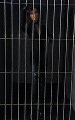 Cat in a Cage 1/10 (MaxxieJames) Tags: catwoman selina kyle poison ivy pamela isley gcpd barbie doll dolls mattel batman gotham police action man diorama prison jail cell vines collector story