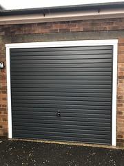 Matching front door and garage door in anthracite