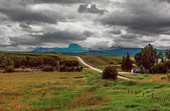 View of Chief Mountain (Ruth Voorhis) Tags: sky clouds stormclouds mountains valley farmland road trees grass terrain field fence