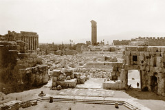 Early October 1941 - The ancient megalithic ruins of Baalbek, Syria (now North Lebanon) (aussiejeff) Tags: megalith jupiter temple syria roman heliopolis hermel middleeast restore sepia ww2 baalbek beqaa wwii ruin war historic ancient lebanon vintage fortress jeffc tombeazley 1940s 40s antique aussiejeff