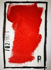 Arbeit 63 (Harald Reichmann) Tags: papier farbe rot schwarz weiss kombination stempel r elend not geschichte kennzeichen code zeichen