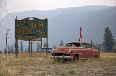 Gold Dust Pub (Clayton Perry Photoworks) Tags: bc canada explorebc explorecanada summer smoke hedley flag old rusty sign desoto chrysler