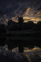 The Cathedral (Andy2305) Tags: worcestershire worcester cathedral reflections sky sunrise river water