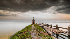 the shack (ylemort) Tags: sea nature pier beach woodmaterial coastline outdoors water jetty sky summer sunset lighthouse landscape tranquilscene scenics lake nopeople cloudsky blue everypixel