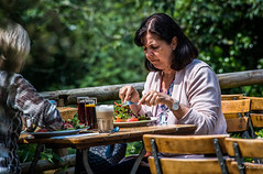 2018 - Germany - Kaiserswerth - Lunching (Ted's photos - For Me & You) Tags: 2018 cropped germany kaiserswerth nikon nikond750 nikonfx tedmcgrath tedsphotos vignetting bokeh food eating two duo couple kaiserswerthgermany fork utensils cup glass wristwatch lunch lunching drinks female woman frown