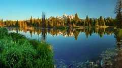 Deep Breaths at Schwabacher Landing (Jeff Rowton) Tags: sunrise panorama trees wyoming beaverpond reflection gtnp grandtetons mountains snow