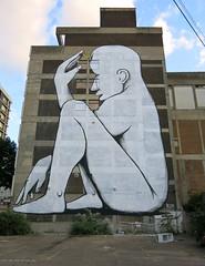 RUN - Thinker Child (surreyblonde) Tags: streetart graffiti walls cans spray paint urbanart croydon cronx risefestival2018 urban g15 canon 2018 september run mural building thinker crescent moon giacomorun figure white