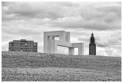 Three structures (awbaganz) Tags: lehavre france beach architecture clouds shore europe westerneurope building structure xpro2 fujifilm xf18135 normandie