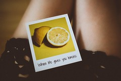 Card conceptual food - Credit to https://homegets.com/ (davidstewartgets) Tags: card conceptual food fruit indoors legs lemons paper photo photography picture polaroid quote summer text thigh