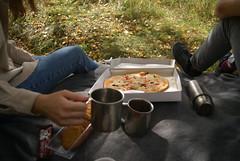 DSC05206 (coonfide) Tags: macro picnic closeup pizza tourism traveling travel coffee tea autumn leaves leaf orange yellow couple