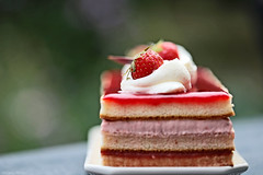 Birthday Cake (eleni m) Tags: cake birthday strawberry macro tabletop fruit food jelly cream clottedcream delicious yummy plate dof bokeh aardbeien slagroom verjaardag red green pink layers