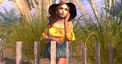 Goodbye Summer Deams (roxxiesukra) Tags: second life secondlife sl character summer fun hot wind breeze wish beach sand sun heat fence short dress hat pondering dreaming saying goodbye sunny surf hope next year time
