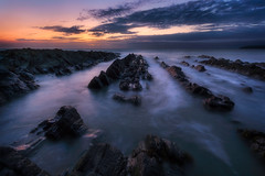 Rush (Michał.Włodarczyk) Tags: water sea seascape rocks sun sunrise sunlight sky clouds light ireland canon 6d