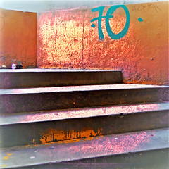 < Las cosas serán reveladas > (Wandering Dom) Tags: up stairs urban garage tijuana mexico expression impression 70 number existence humans time life reality dreams being nothingness cosas serán reveladas