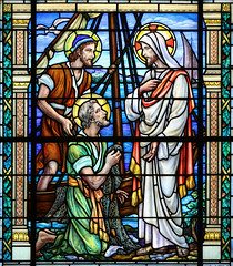Leave Me Lord... (Lawrence OP) Tags: biblical callofapostles peter saints jesuschrist stainedglass annapolis naval academy chapel window
