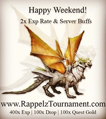 Happy weekend! 2x Exp Rate & Server Buffs!  400x Exp | 100x Drop | 100x Quest Gold  www.RappelzTournament.com  #rappelz #mmorpg #game #tournament #pet #gamer #item #gamers #gamergirl #computer #discord #gamepower7 #2xexp #server #buffs #weekend #happy (rappelztournament1) Tags: rappelz mmorpg game tournament pet gamer item gamers gamergirl computer discord gamepower7 2xexp server buffs weekend happy