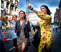 The Way (Owen J Fitzpatrick) Tags: ojf people photography nikon fitzpatrick owen pretty pavement chasing d3100 ireland editorial use only ojfitzpatrick eire dublin republic city tamron candid joe candidphotography candidphoto unposed natural attractive beauty beautiful woman female lady j along yellow street 2018 dslr digital streetphoto streetphotography pope francis papal visit august 25 25th centre floral dress brunette leopard leather coat jacket dame point metal barrier way photoshoot rose flower