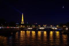 Eiffel Tower (sarowen) Tags: eiffeltower toureiffel paris france parisfrance night nighttime nightphotography dark light city lights reflection water seine