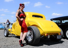 Holly_2243 (Fast an' Bulbous) Tags: hotrod coupe custom car vehicle automobile santa pod dragstalgia girl woman hot sexy pinup model red wiggle dress long brunette hair high heels stockings nylons people outdoor nikon
